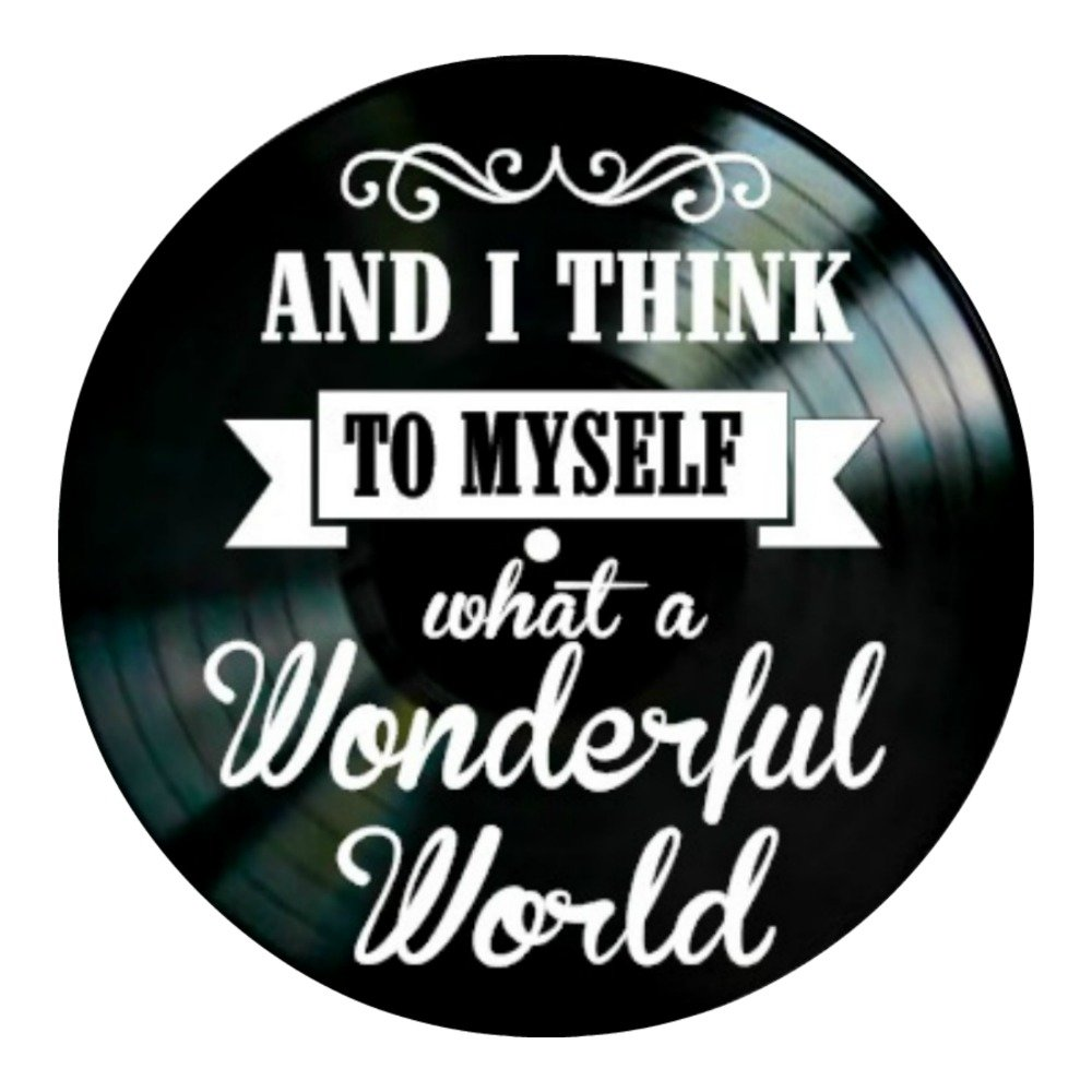 What A Wonderful World song lyrics on a Vinyl Record album Wall Decor
