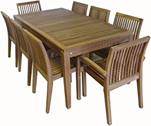 Ohana 9-Piece Outdoor Patio Furniture Teak Dining Set with Beige Cushions