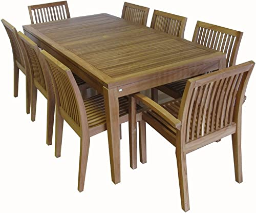 Ohana 9-Piece Outdoor Patio Furniture Teak Dining Set