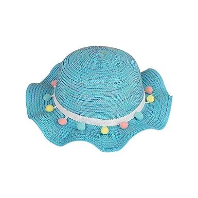 Leisial Enfant Capeline à Large Bord Chapeau de Paille avec Décoration  Florale et Franges de Couleur 4962eb3929c