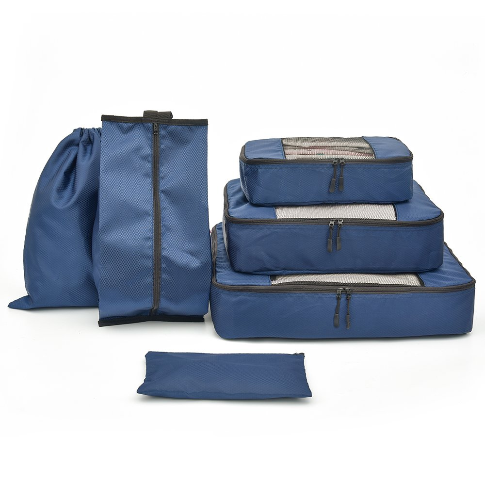 6 pcs Packing Organizer Include 3 Cubes, 1 Shoes Bag,1 Laundry Bag, 1 Cosmetic Bag (Navy)
