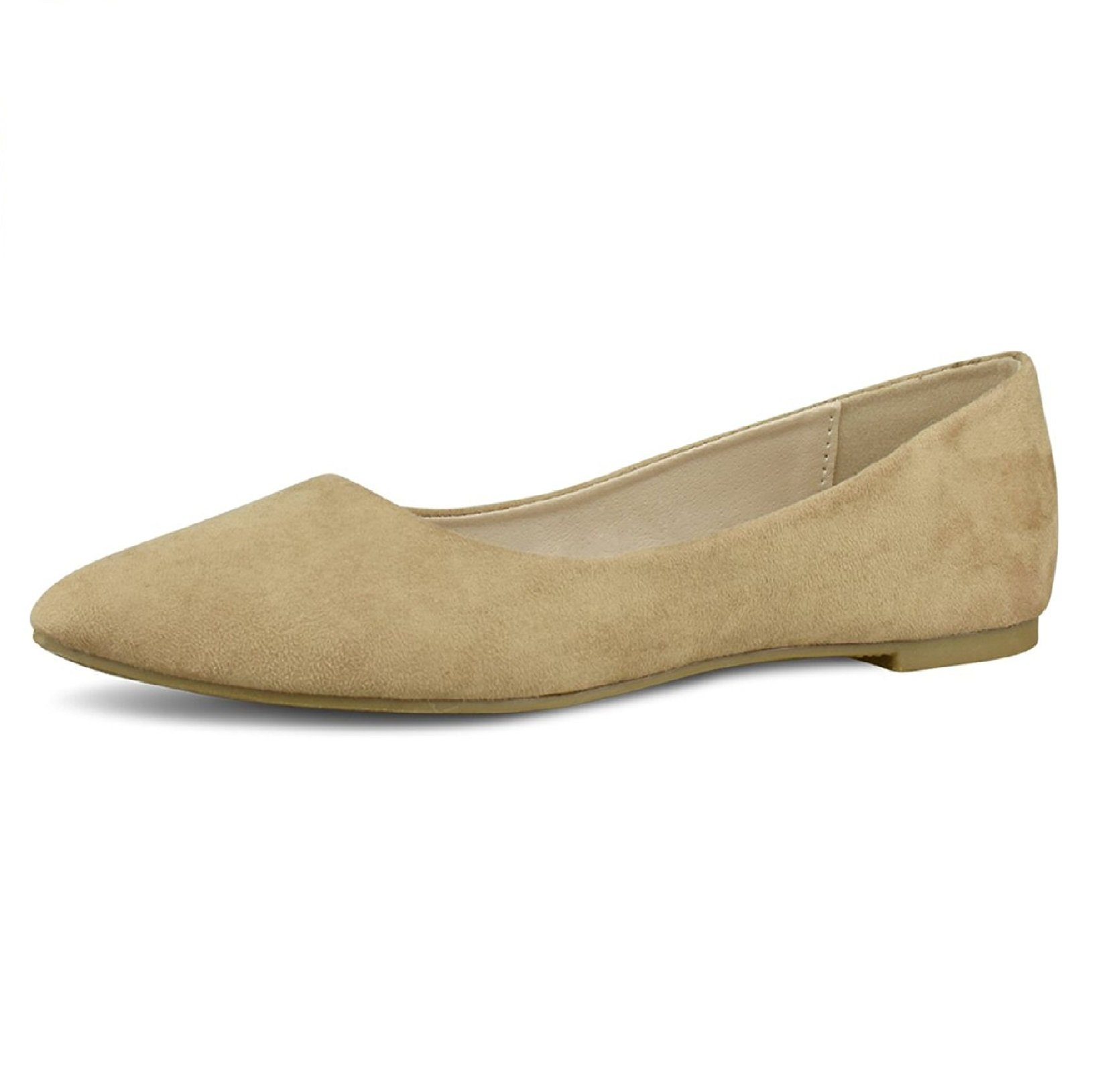 Women's Ballet Flats Pointed Toe Classic Slip On Loafer Shoes Suede Summer Wedding Shoes Taupe 7