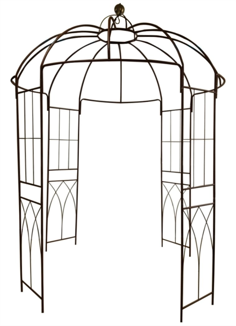 OUTOUR French Style Birdcage Shape Heavy Duty Gazebo,9'Highx 6'6''Wide,Pergola Pavilion Arch Arbor Arbour Plants Stand Rack for Wedding Outdoor Garden Lawn Backyard Patio,Climbing Vines,Roses,Dark Rust