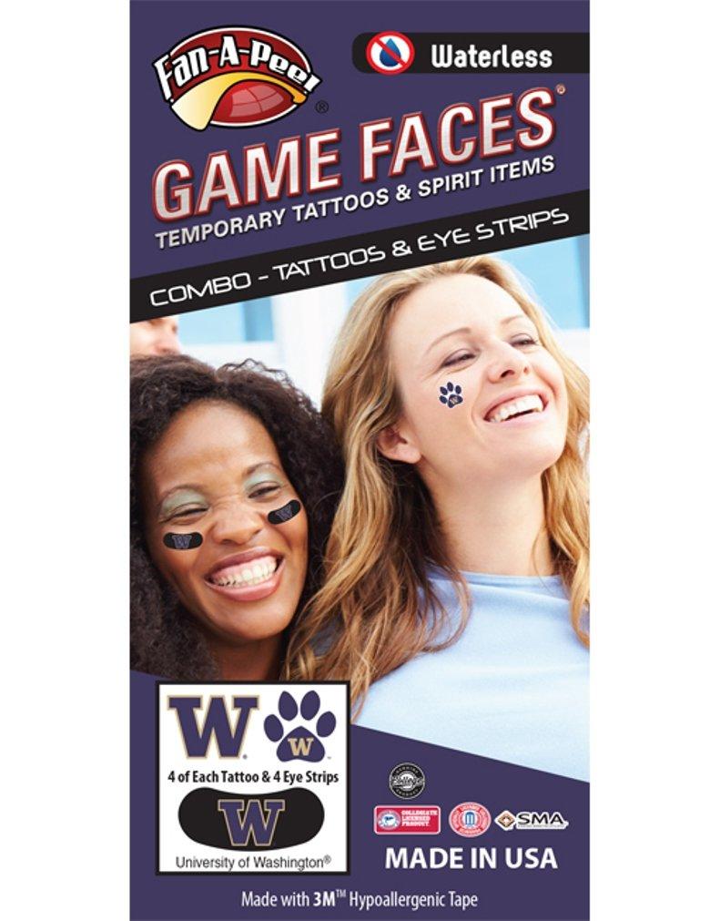 University of Washington (UW) Huskies – Waterless Peel & Stick Temporary Tattoos – 12-Piece Combo – 4 Purple/Gold W Logo & 4 Gold W Logo on Purple Paw Print Spirit Tattoos & 4 Purple/Gold W Logo on Bl