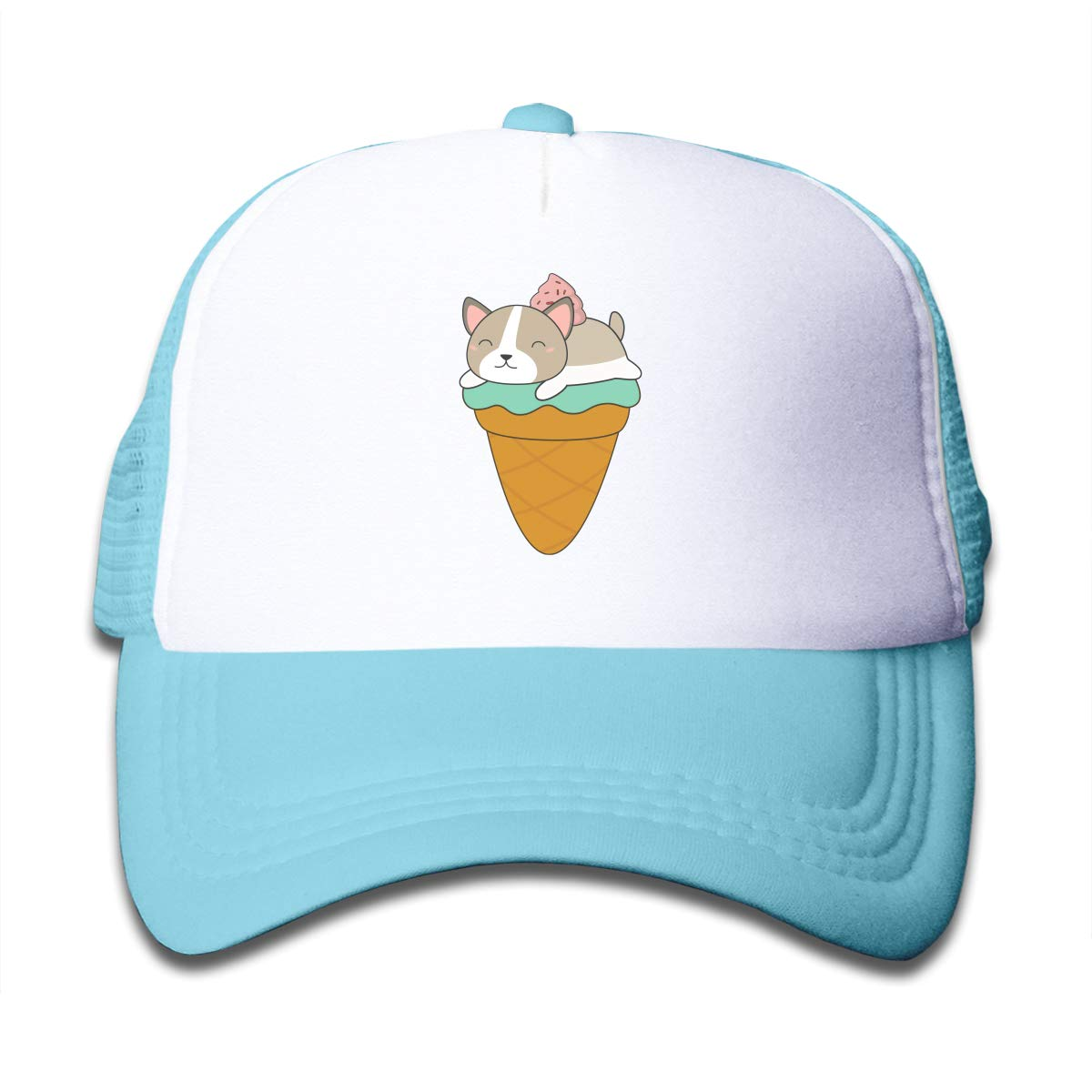 Kawaii Puppy Dog Ice Cream Cone Children Baseball Cap Hat Black