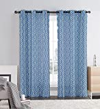 Two Piece Window Curtain Panels: Grommets, Honeycomb Hexagon Design, 76″ x 84″ Long (Blue and Ivory)