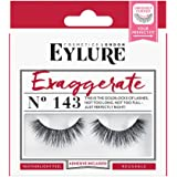 Eylure Exaggerate False Eyelashes, Style No. 143, Reusable Adhesive Included, 1 Pair