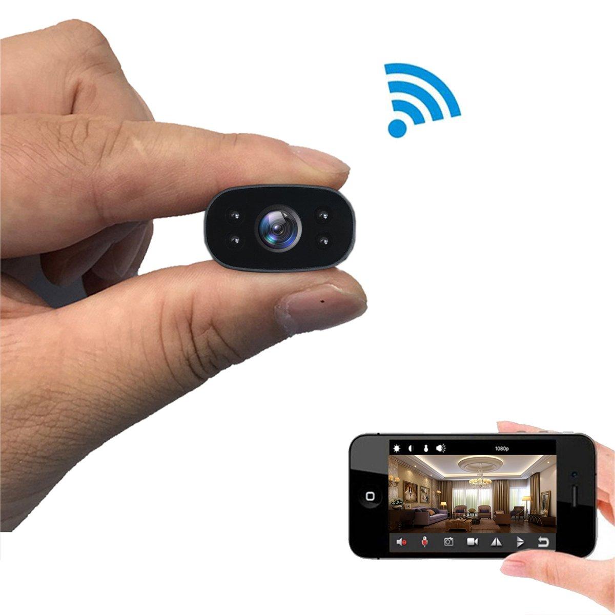 PNZEO W3 Mini Spy Camera 1080P HD Wireless WiFi Hidden Cameras IR Night-Vision Camera Tiny 140° Wide-View-Angle Video Recorder Surveillance Cameras Remote View Motion-Detection(Night Vision Version)