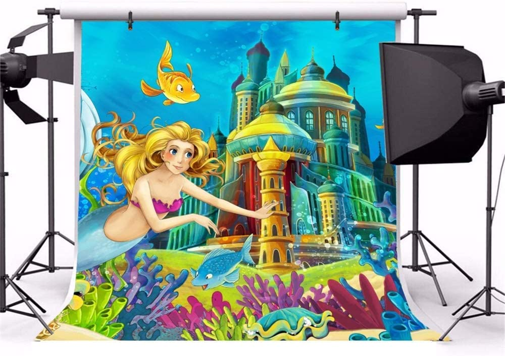 7x7ft Cartoon Mermaid Party Polyester Photography Background Underwater Castle Beautiful Mermaid Princess Fishes Corals Illustration Backdrop Child Baby Birthday Banner Baby Shower Wallpaper