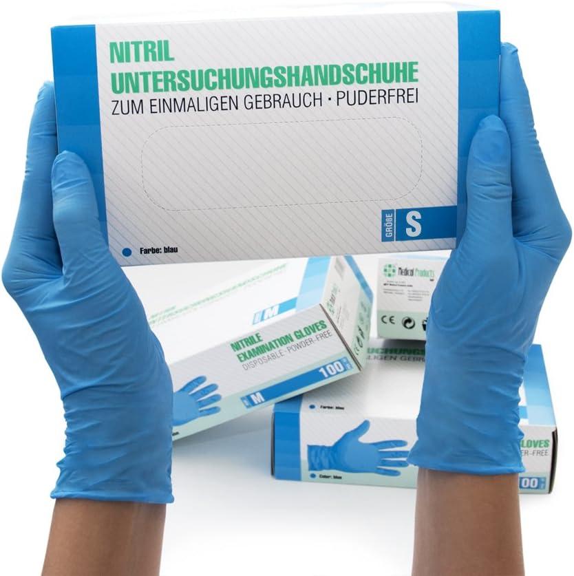 1000pcs Guanti in nitrile Guanti per esame M3.5 senza polvere blu a mano Nitrile