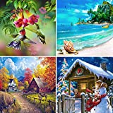 #5: Aneco 4 Pack 5D DIY Diamond Painting by Number Kits Full Drill Cross Stitch Rhinestone Embroidery Paintings Four Seasons Pictures for Home Decoration