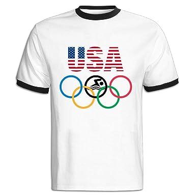 bf18649e139ac Amazon.com: D-IUA Mens USA 2016 Olympic Swimming Logo Short Sleeve ...