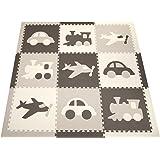 "SoftTiles Transportation Theme Kids, Baby, Infant Foam Play Mats w/Sloped Edges Large 2' Floor Tiles 78"" x 78"" (6.5' x 6.5') Gray, White, Light Gray SCTRAGWH"