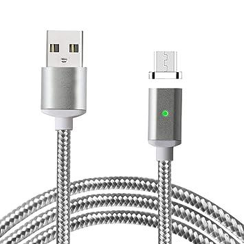 Lively Life 3,3ft/1m Cable de Cargador Micro USB Magnético Trenzado de Nylon con Indicador LED para Android, Samsung, Huawei, HTC, Nokia, Nexus, Sony ...