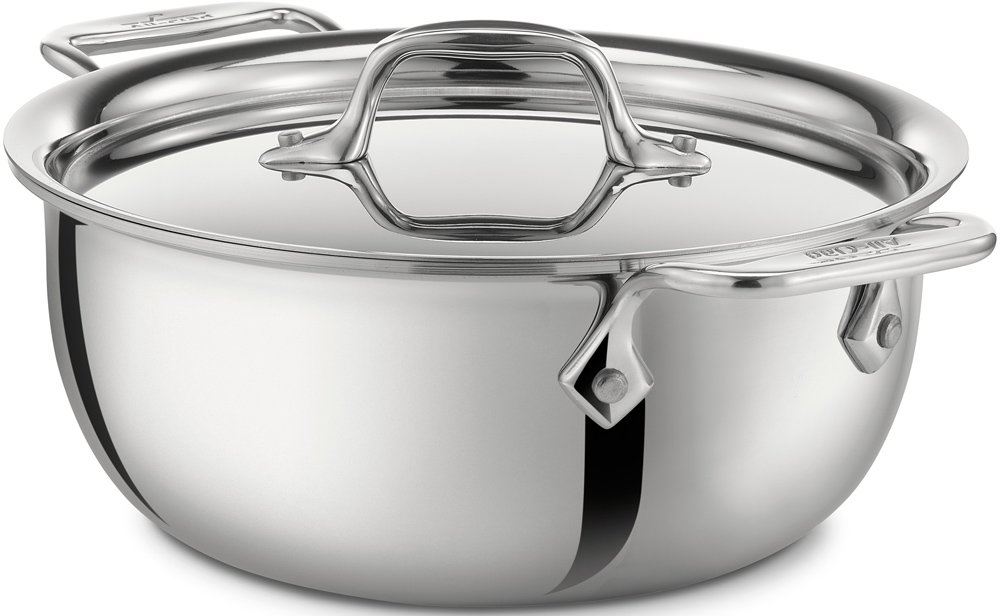 All-Clad 421349 Stainless Steel Tri-Ply Bonded Dishwasher Safe Cassoulet with Lid / Cookware, 3-Quart, Silver