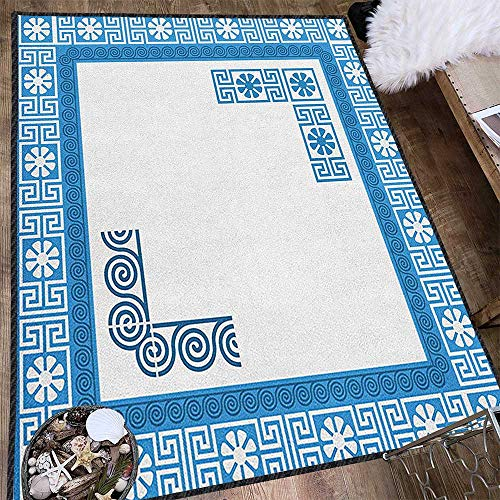 Greek Key Graceful Area Rug,Frame with Traditional Vintage Blue Square with White Flowers and Fret Pattern Carpet for Children Home Decorate Blue White - Key Greek Accent Lamp