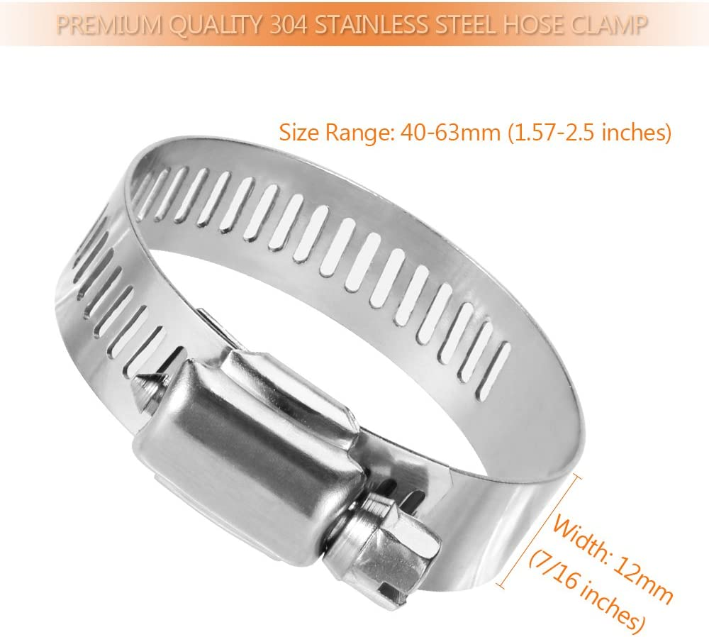 Fuel Line Clamp for Plumbing LOKMAN Hose Clamp Automotive and Mechanical Application 20 Pack Stainless Steel Adjustable 27-51mm Size Range Worm Gear Hose Clamp