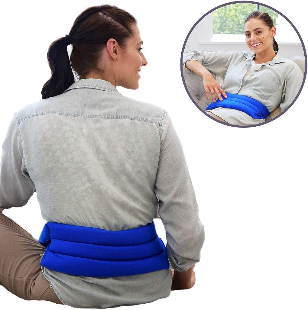 My Heating Pad Microwavable Back Pain Relief Pack with Full Waist Wrap | Perfect for Lower Back Pain Relief, Cramps, and Lumbar Pain | Natural Back Pain Relief Products Made in USA (Blue)