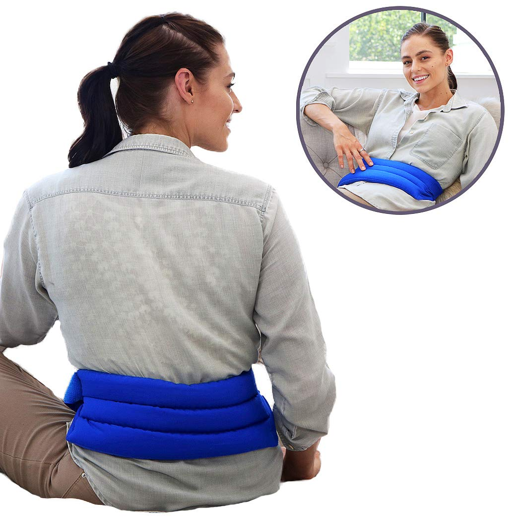 My Heating Pad Microwavable and Adjustable Heat Pack with Full Waist Wrap | Perfect for Back Pain Muscle Relief and Menstrual Cramps Relief | Compress Pad for Lumbar and Abdomen Hot/Cold Therapy Blue by My Heating Pad