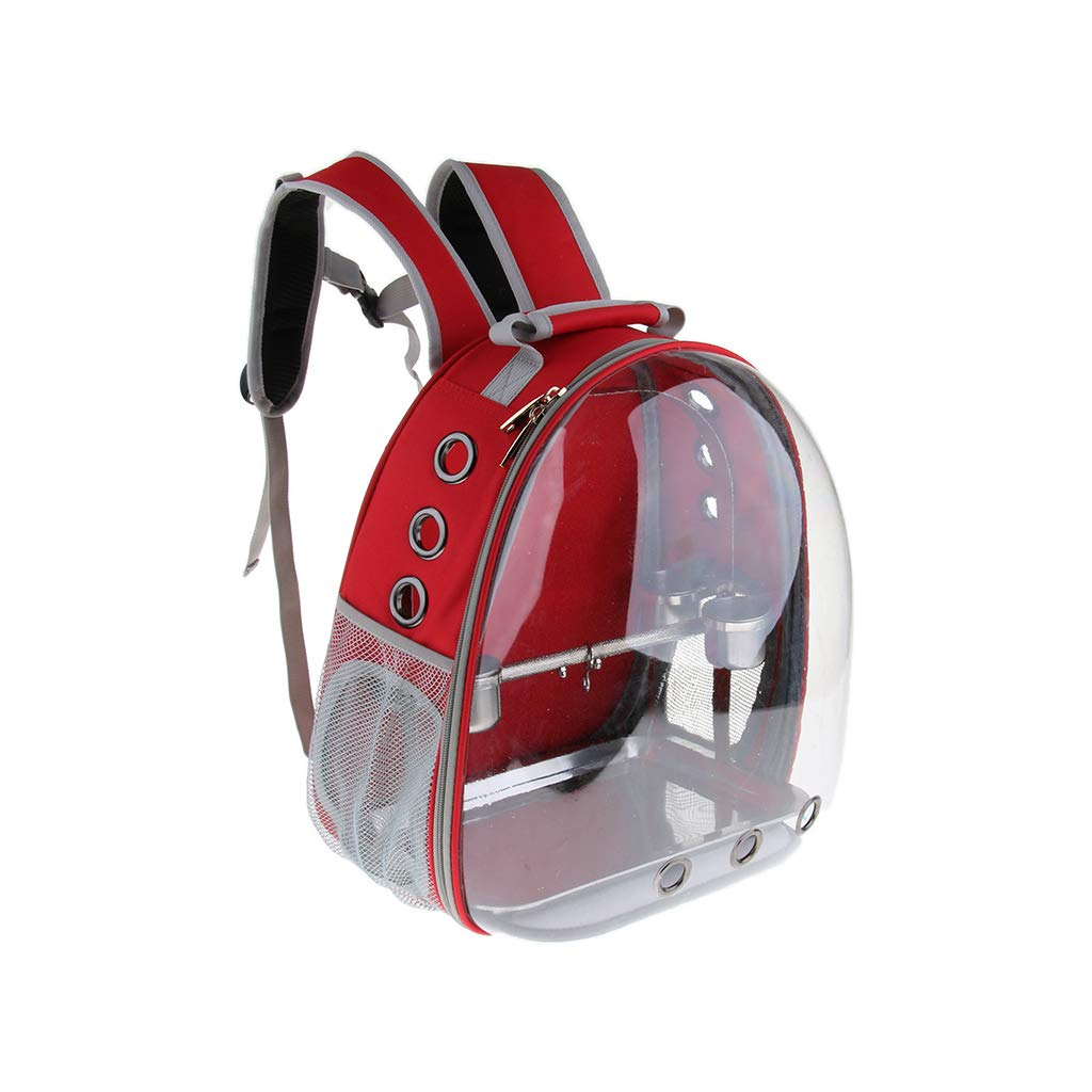 Red B Blesiya Pet Outdoor Travel Backpack Birds Parred Waterproof Carrier with Perch Cups Red
