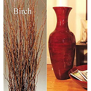 """Green Floral Crafts 36"""" Classic Mahogany Red Bamboo Floor Vase & Birch Branches"""