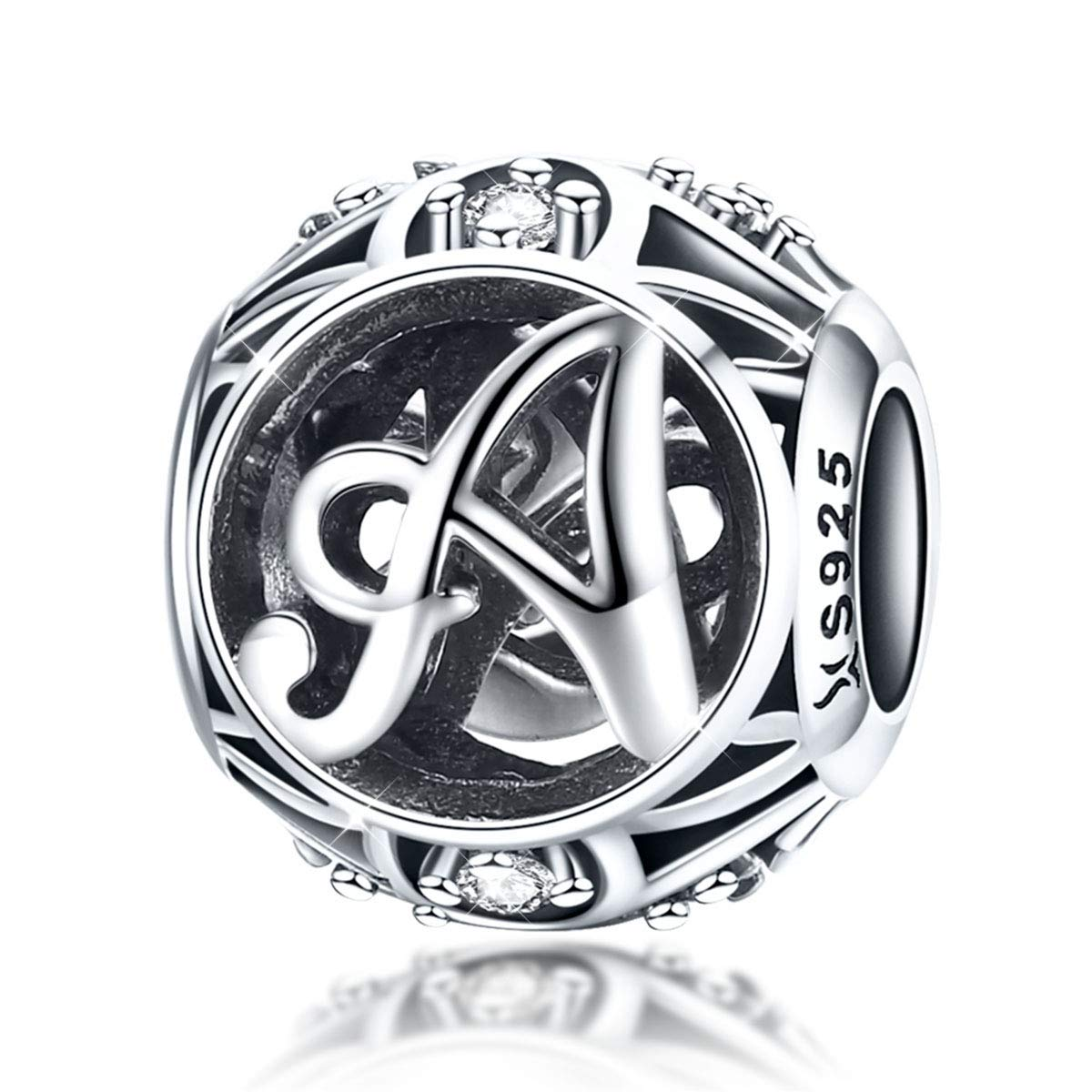 A Buchstabe Anhä nger Charm Sterling Silber 925 Zirkonia fü r Armbä nder und Halsketten Faona FAC738-A+gift