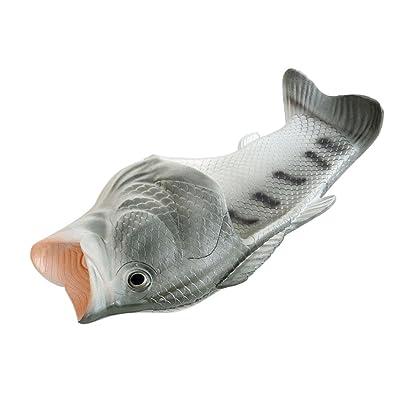 2017creativo novedad Unisex Zapatillas por cebbay, PVC peces modelado Funny sandalias para baño playa–entre padres e hijos, pvc, Plateado, 41 = UK 5-5.5