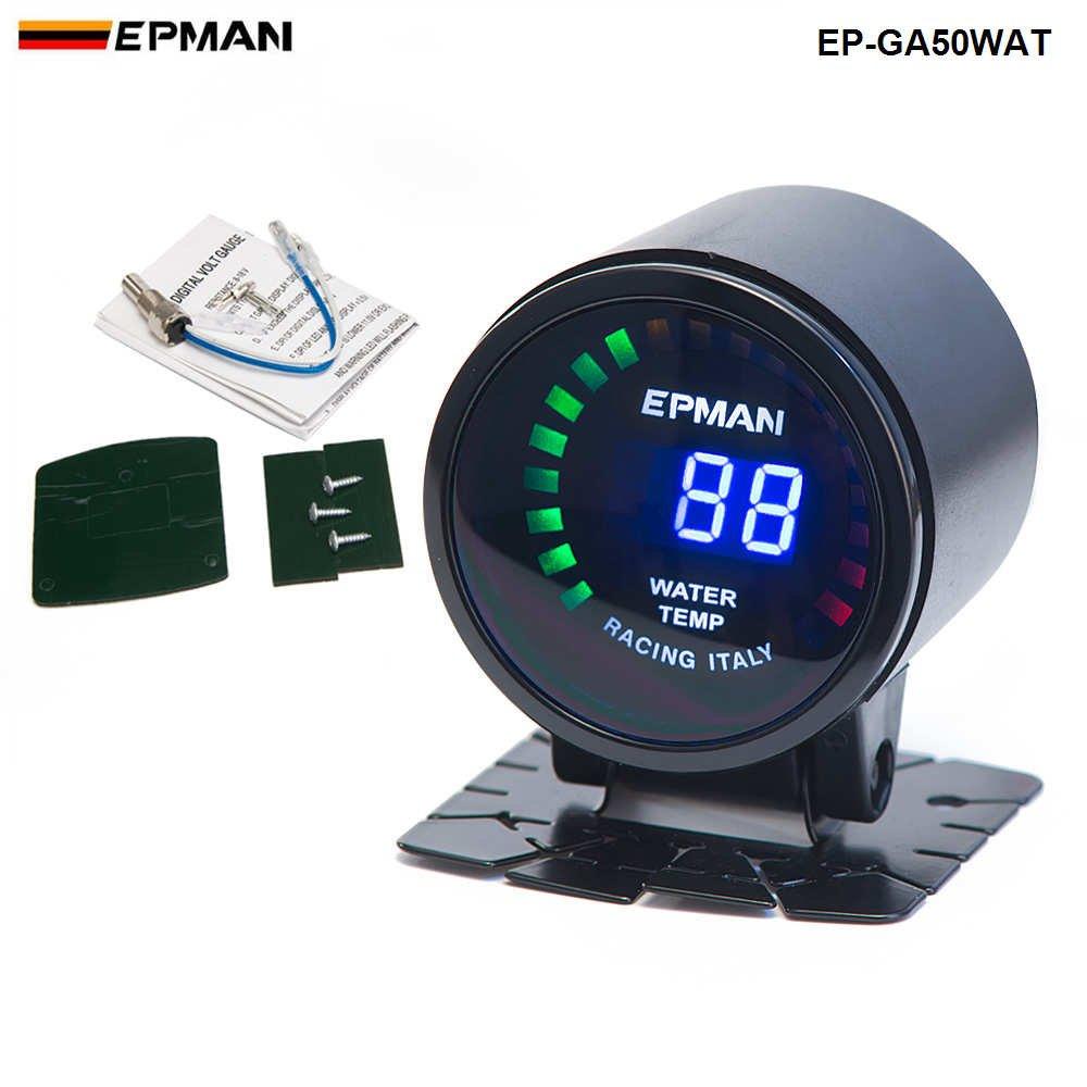 Black EPMAN 52mm Smoked LED Digital Water Temperature Temp Meter With Sensor Bracket