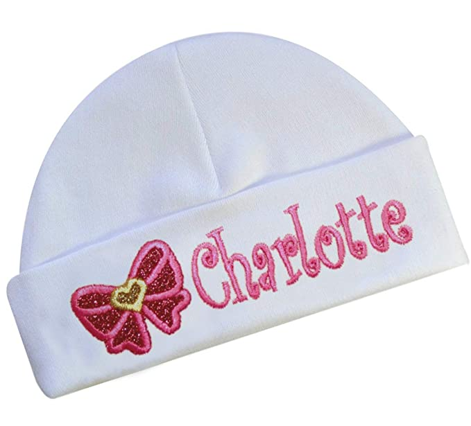 33e15fb78 Amazon.com: Embroidered Baby Girl Hat with Sparkling Glitter Bow ...