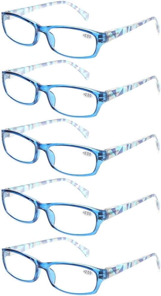 +0.50, 5 Pairs Blue Reading Glasses 5 Pairs Stylish Pattern Frame Readers Quality Fashion Ladies Glasses for Women