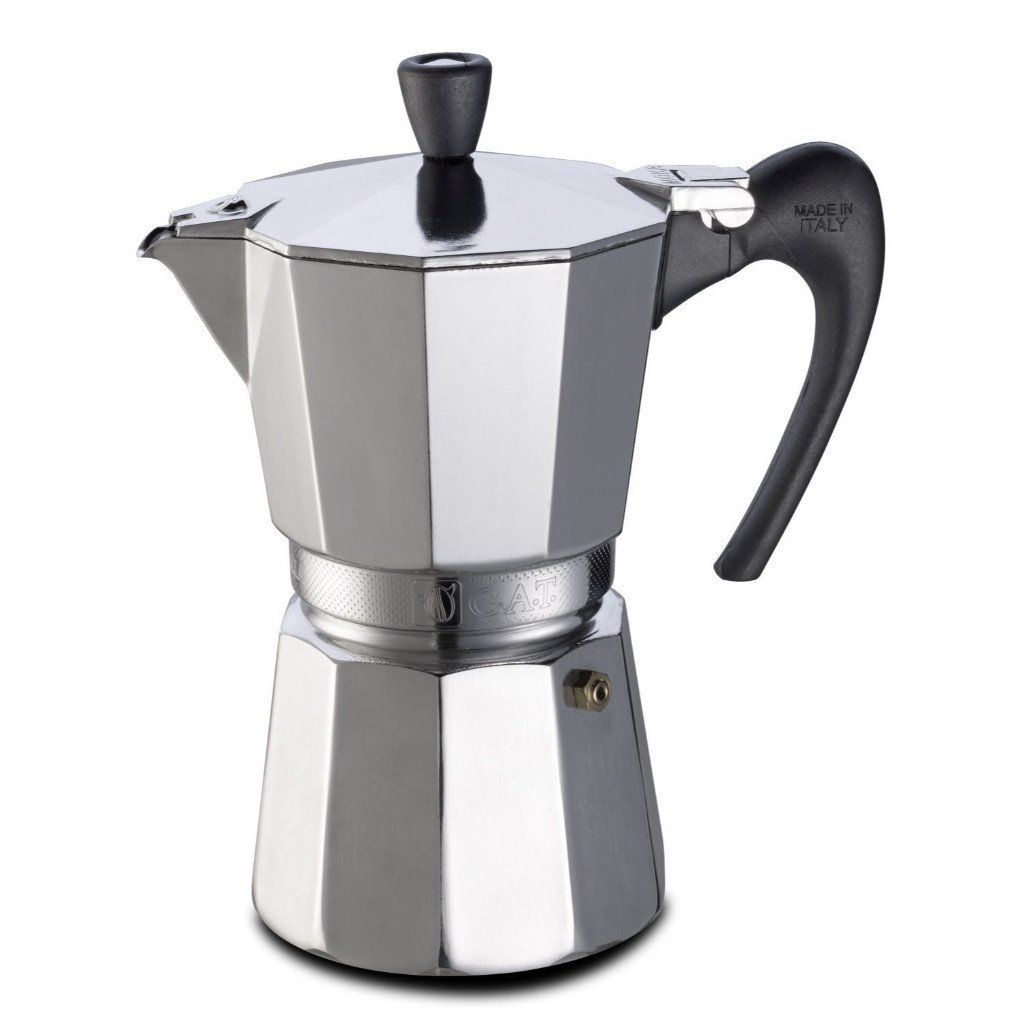 GAT Aroma VIP - Stove Top Espresso Coffee Maker - Aluminium with Black Handle and Knob - 6 Cups