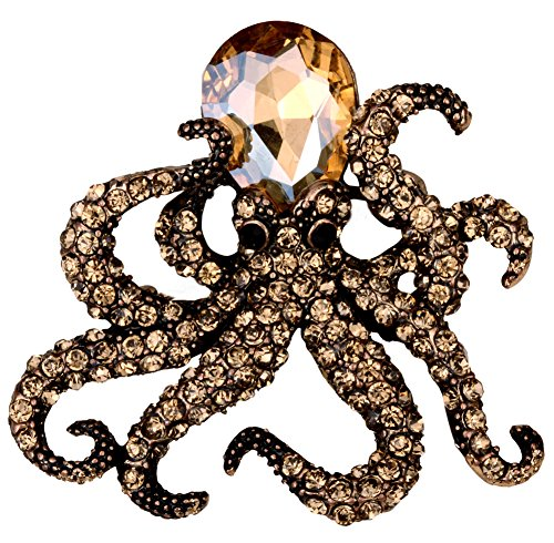 (YACQ Jewelry Crystal Creepy Octopus Pin Brooch for Halloween Costume Accessories Party Women Teen)