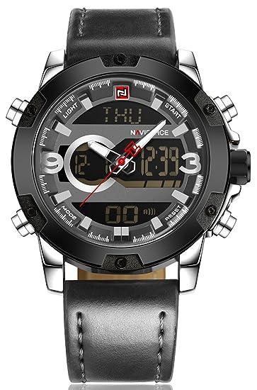 Naviforce reloj correa de piel hombre multifunción resistente al agua de doble pantalla LED Digital de cuarzo reloj de pulsera: Amazon.es: Relojes