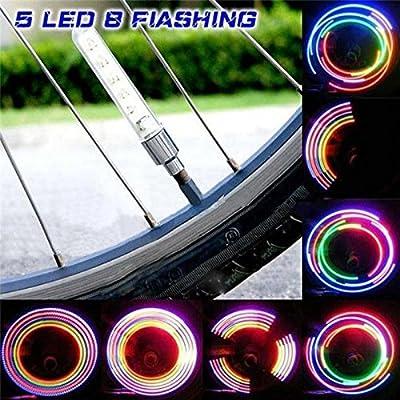 EDTara Colorful Light Lamp Led Flash 5 LED Bike Tire Valve Cap Light Bicycle Light for Tires 2Pcs