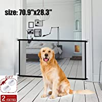 """Magic Gate Pet Gate for Dogs,70.9""""x28.3"""" Black Portable Mesh Folding Safety Fence, Pet Isolation Net,Dog Gate for House Indoor Stair/Doorway Use"""