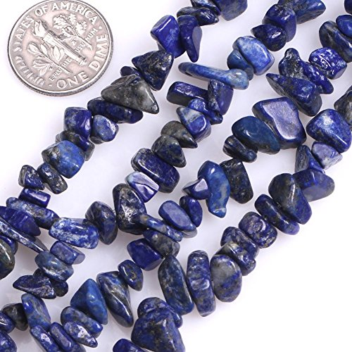 5-8mm Blue Lapis Lazuli Chips Chip Beads Loose Gemstone Beads for Jewelry Making Strand 35 - Blue Goldstone Chip
