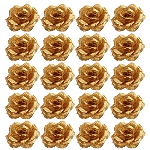 Academyus 20Pcs 8cm Cloth DIY Roses Artificial Flower Wedding Bride Bouquet Party Decor Golden