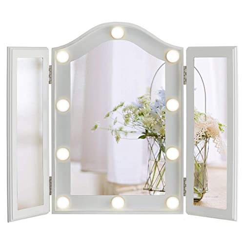 LUXFURNI Hollywood Lighted Vanity Tri-fold Makeup Mirror with 10 Dimmable LED Blubs, Touch Control Lights Tabletop Makeup Mirror