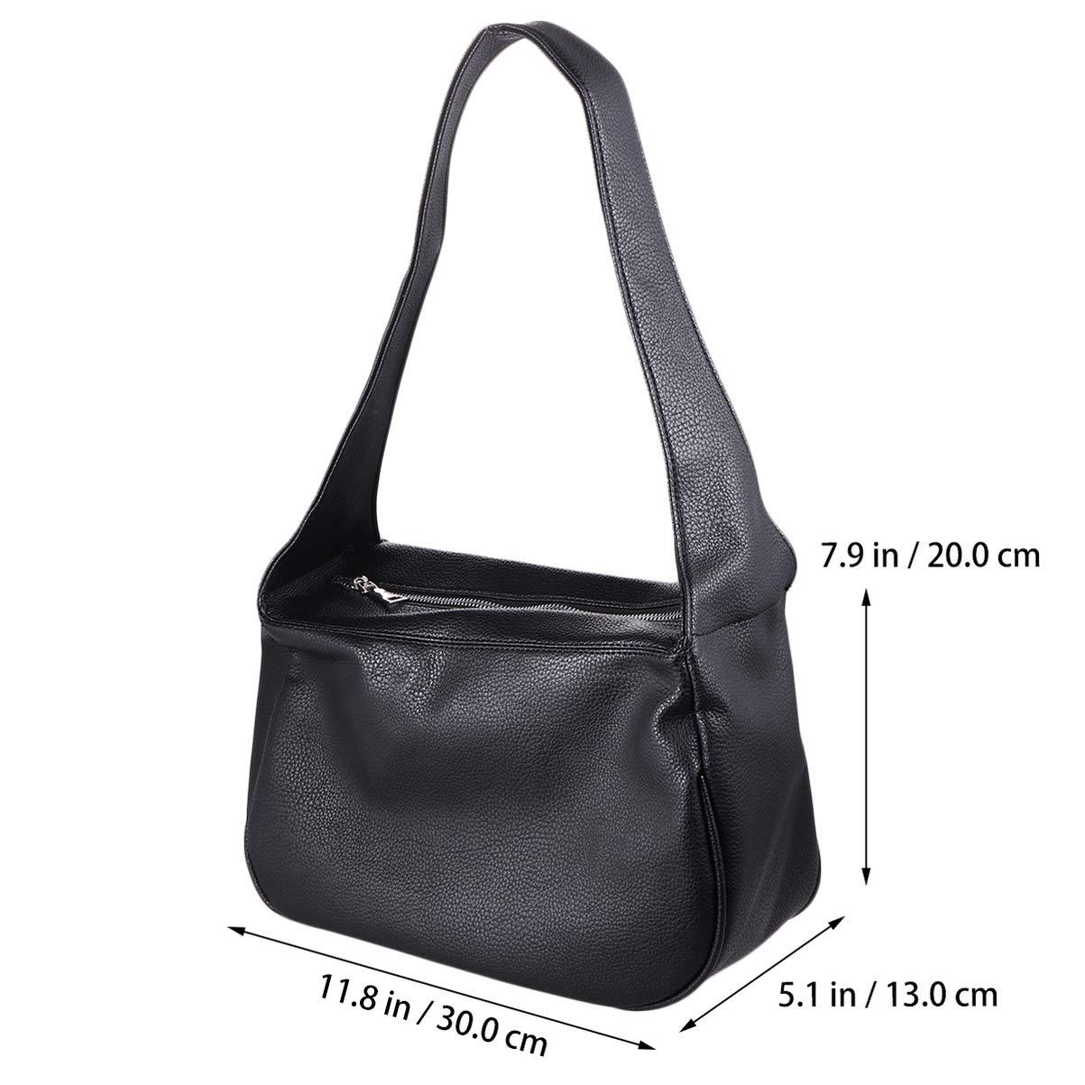 PRETYZOOM PU-läder axelväska matchande handväska stor kapacitet mode ficka bok handväska för resor shopping utomhus (vit) Svart