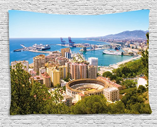 Ambesonne Landscape Tapestry by, Aerial View of Malaga with Bullring and Harbor Spain Traditional European City, Wall Hanging for Bedroom Living Room Dorm, 80WX60L Inches, Multicolor by Ambesonne