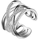 Outflower Anello di moda linea anello d'argento linea piccola diamante gioielli da donna anello dimensione può essere regolata (B)