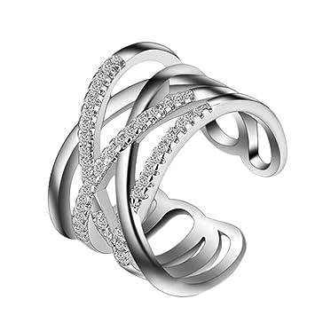 3270ce9fc45550 Gespout リング 婚約指輪 カップル オープンリング 調節可能 指輪 キラキラ 贈り物 安い フリーサイズ プレゼント 母