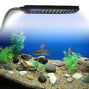 Weksi®Led Aquarium Lighting Fish Tank Aquarium Clip Lamp Kit Flexible Button Switch 48led 3 Mode 3w White Blue +3pcs Free Aquarium Jellyfish(Green Blue Pink)