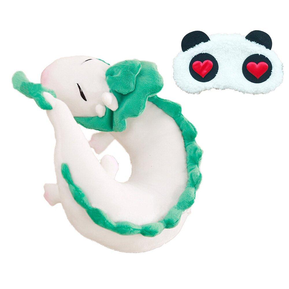 Funbase White Dragon Plush U Shape Neck Pillow Animal Toy W/Eye Mask for Office Home Travel Rest