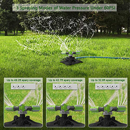 PQWQP Garden Sprinkler, Upgrade Automatic Lawn Water Sprinkler 360 Degree Rotation Irrigation System, Large Area Coverage, Quick Leakproof Connection, Garden Hose Sprinkler for Outdoor Yard Kids
