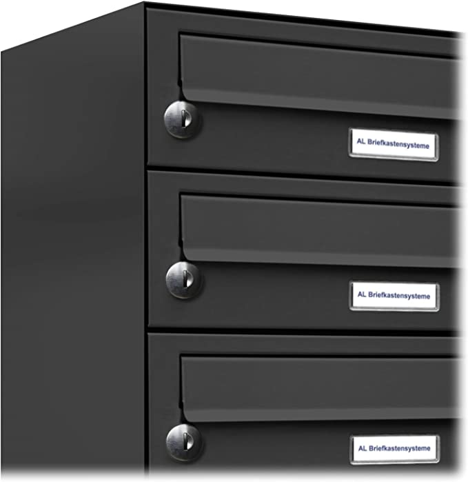 Rapid Teck/® 5er Briefkastenanlage Standbriefkasten Anthrazit 1x 5 F/ächer Briefkasten Postfach Dunkel Grau Postkasten Mehrfamilienhaus