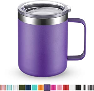 Civago Stainless Steel Coffee Mug Cup with Handle, 12 oz Double Wall Vacuum Insulated Tumbler with Lid Travel Friendly (Purple, 1 Pack)