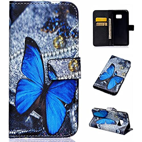 S7 Wallet Leather Case,Topratesell Wallet Folio Leather Flip Case Cover with Credit Card Id Pocket for Samsung Galaxy S7 (Blue Butterfly Pattern) Sales