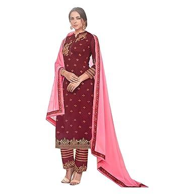 Maroon Indio paquistaní Derecho Straight Salwar hochzet Ladies ...