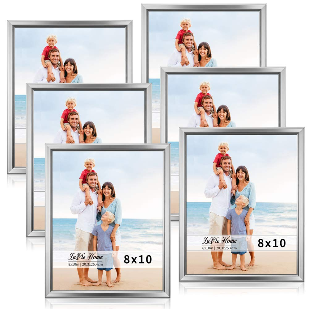 LaVie Home 8x10 Picture Frames (6 Pack, Silver) Simple Designed Photo Frame with High Definition Glass for Wall Mount & Table Top Display, Set of 6 Classic Collection by LaVie Home